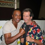 Sedona Verde Valley Times editor Tommy Acosta enjoys a go-round with boxer Sugar Ray Leonard on November 13 2008
