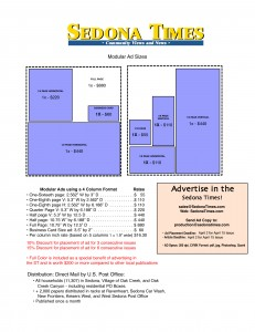 Sample Advertising Rate Sheet - Contact Sales@SedonaEye.com today