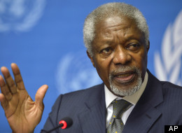 Kofi Annan, Joint Special Envoy of the United Nations and the Arab League for Syria, speaks during a press briefing speaks during a press briefing at the United Nations in Geneva, Switzerland, Friday, June 22, 2012. Annan said Friday he continues to hold out hope that his six-point peace plan might succeed eventually in Syria, but believes Iran should be involved in efforts by world powers to end the escalating violence that has claimed thousands of lives and forced hundreds of thousands from their homes. (AP Photo/Keystone, Martial Trezzini)