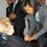 First Lady Michelle Obama with WWII veteran Alyce Dixon in Washington, DC