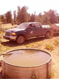 Arizona Elk Society volunteers fill dry water tanks. Southwestern water studies show visitation rates by non-game species exceeded that of game species in hot weather.