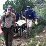 Mt. Eldon search and rescue team in operation