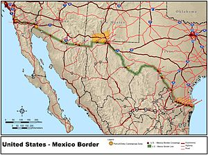 United States and Mexico border is highlighted in green