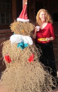 sedona christmas tumbleweed and woman