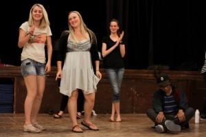 """VVS students Tatiana Krakhamaleva  from Moscow, Russia; Morgan Bailey from Sedona; Haley Cox from Sedona; and James Williams from Sedona rehearse scenes from """"The Tsar's Favorite Circus"""" to be performed this weekend. Photo by Ingrid Sandness"""