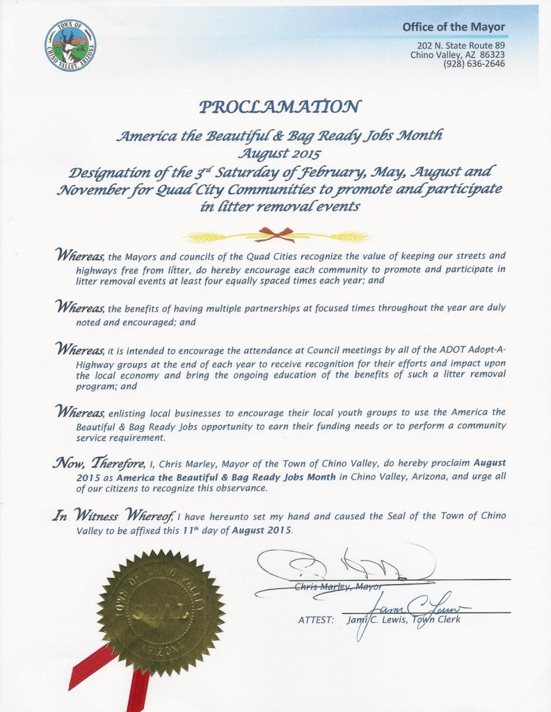 gary chamberlain chino valley proclamation